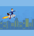 flat businessman flies above the city on the vector image