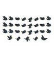 flying black bird game sprites vector image vector image