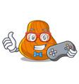 gamer hard shell mascot cartoon vector image vector image