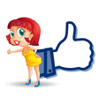 girl with thumb vector image