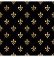 Golden fleur-de-lis seamless pattern black 4 vector image vector image