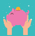 hands with piggy money charity donation vector image vector image