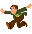 Happy cartoon man running with wide open hands vector image