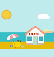 hotel on the beach with baggage and umbrella vector image vector image