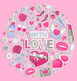 icon sticker set with love vector image vector image