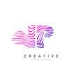 ip i p zebra lines letter logo design with vector image