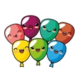 kawaii cute balloons party decoration design vector image