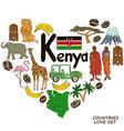 Kenyan symbols in heart shape concept vector image vector image