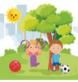 little kids couple playing on the park vector image