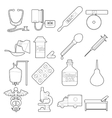 Medical icons set outline style vector image
