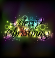 Merry Christmas floral text design shimmering vector image