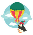 penguin wearing kitted hat holding big balloon vector image