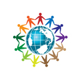 people unity and globe logo vector image