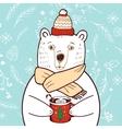 Polar Bear in red hat vector image