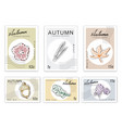 post stamps set of autumn plants with paper cut ar vector image
