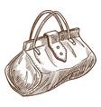retro bag or valise isolated object sketch handbag vector image