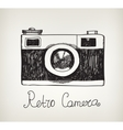 retro hand drawn hipster photo camera vector image vector image