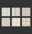 retro seamless pattern set vintage textile vector image