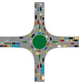 roundabout road junction with many cars vector image vector image