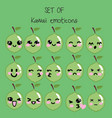 set of kawaii emoticons cute lime vector image vector image