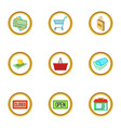 shop icons set cartoon style vector image