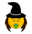 sick witch emoji icon vector image vector image