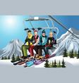 skiers on ski lift vector image