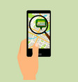 smartphone with supermarket location map vector image vector image