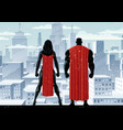 superhero couple watch winter vector image vector image