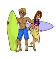 surfers - woman and man vector image