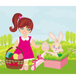 sweet girl and Easter Bunny vector image