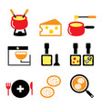 swiss food and dishes icons set - fondue vector image vector image