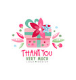 thank you very much logo design holiday card vector image
