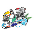 Toucan surfing in the ocean vector image