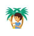 tourist man with beach palms vector image