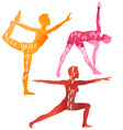 watercolor silhouettes woman doing yoga vector image vector image