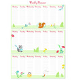 weekly planner template with cute animals vector image