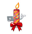 with laptop character christmas decoration with vector image vector image