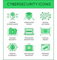 cyber security thin line icons set computer vector image