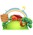 A rooster and the empty boards in front of a house vector image vector image