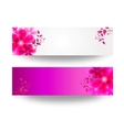 banner with flowers and leaves vector image vector image