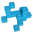 blue dice toys on white background vector image vector image