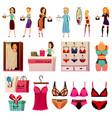 bvd lingerie store set vector image