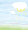 Card with sky and sun - pastel color vector image vector image