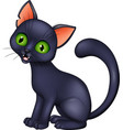 cartoon black cat isolated on white background vector image
