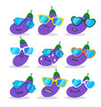 cartoon eggplant emojis with sunglasses vector image