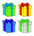 christmas box gift icon set symbol design vector image