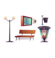 city bus stop with bench and schedule vector image