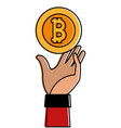 color bitcoin electronic currency with hand up vector image vector image