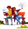 couple dating with smartphones vector image vector image